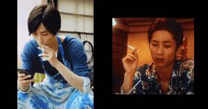 田中樹のタバコを吸っている画像