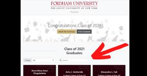 フォーダム大学2021年卒業名簿の画像