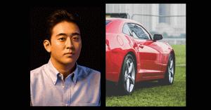 安住紳一郎と赤い高級車の画像